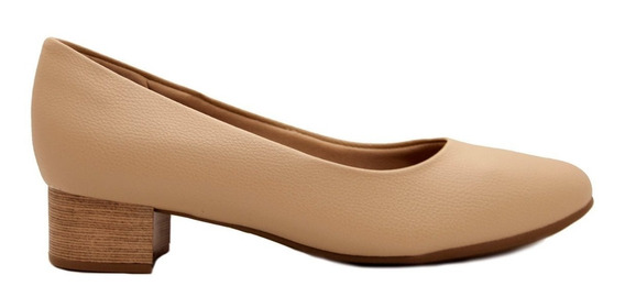 Zapato Clásico Mujer Cuero Ecológico Beige Taco Bajo Foliado