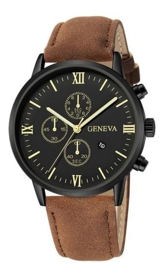 Relógio Quartzo Masculino Luxuoso Pulseira D/couro Promoção