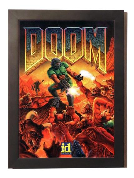 Quadro Poster Com Moldura Doom Super Nintendo Snes Game
