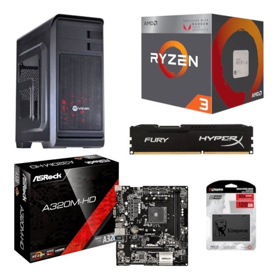 Kit Hunter Ryzen R3 2200g Asrock A320m Hd Hx 8gb Ssd 120gb