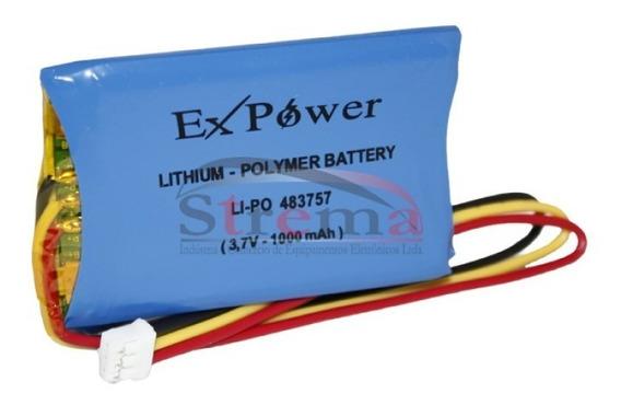 Bateria Li-po 3,7v 1000mah Lp483759 Com Conector Polymer