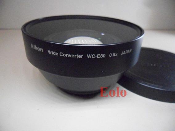Nikon * Lente Wide Converter Wc-e80 +tampas * Como Nova ! #