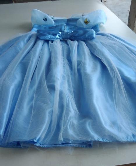 Vestido Cinderela Borboletas Infantil + Luvas
