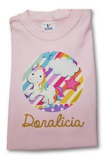 Playera Rosa Algodon 100% Infantil Unicornio Personalizada