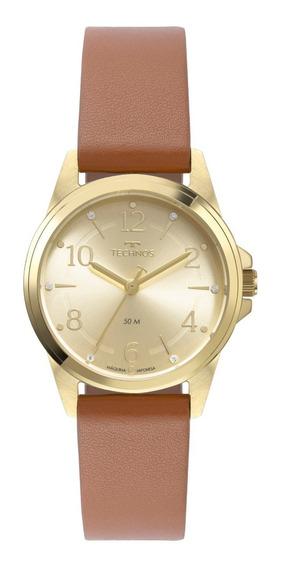 Relógio Technos Feminino Boutique Couro Marrom 2035mth/0x