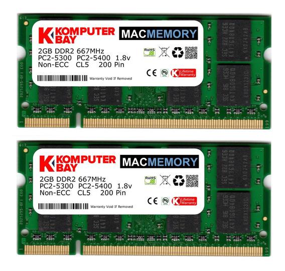 Memoria Ram 4gb Komputerbay Mac Apple Kit (2x 2gb Modules) Pc2-5300 667mhz Ddr2 Sodimm iMac And Macbook