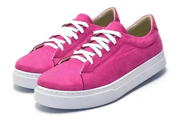 Tênis Casual Feminino Em Nobucado Rosa Pink 086