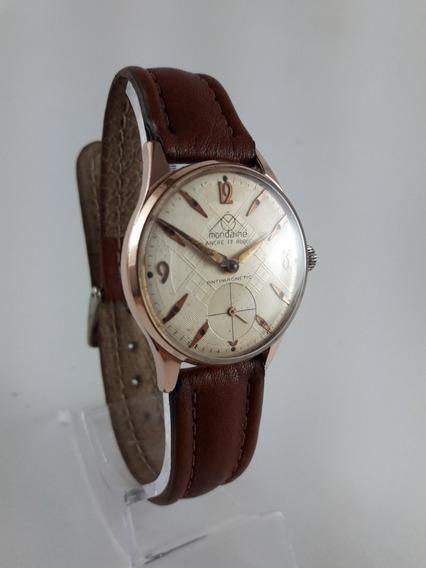 Relógio Mondaine A Corda Plaque De Ouro Vintage Coleção