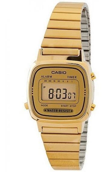 Relógio Casio Original Feminino Dourado A Prova D