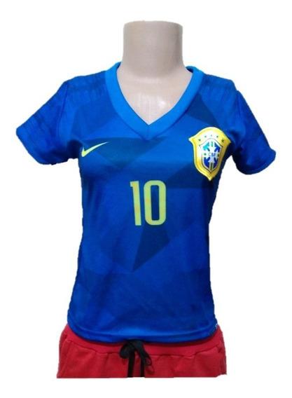 Mini Camiseta Baby Look Time Brasil Neymar