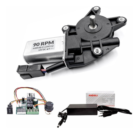 Motor 12v Dc Com Redução 90 Rpm + Fonte + Pwm Digital