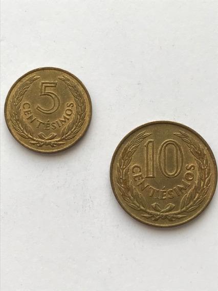 Lote 2 Monedas 5 Y 10 Centimos Uruguay 1960