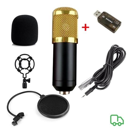Microfone Bm800 + Aranha + Espuma + Pop Filter + Brinde