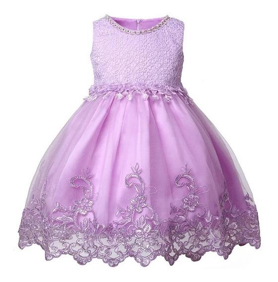Vestido De Fiesta Para Niña Elegante Boda Rosa Y Lila T 3-6
