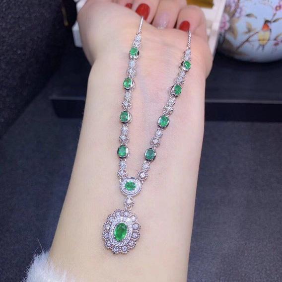 Collar Y Aretes De Esmeraldas Genuinas Naturales