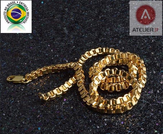Conjunto Corrente Cordão + Pulseira Cartier 2 Banho Ouro 18k