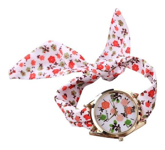 Relógio Feminino Senhoras Tecido De Pano Da Flor