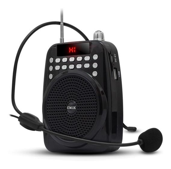 Amplificador Megafone Microfone Professores Kit Completo Com Radio Fm E Usb Para Palestras Eventos Recarregavel