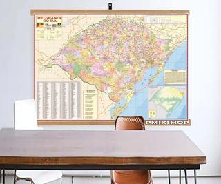 Mapa Estado Rio Grande Do Sul Banner Moldura Laminado 120x90