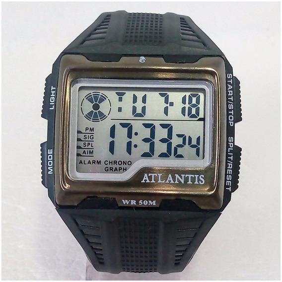 Relógio Masculino Atlantis Digital 7472 Quadrado Prova Dágua