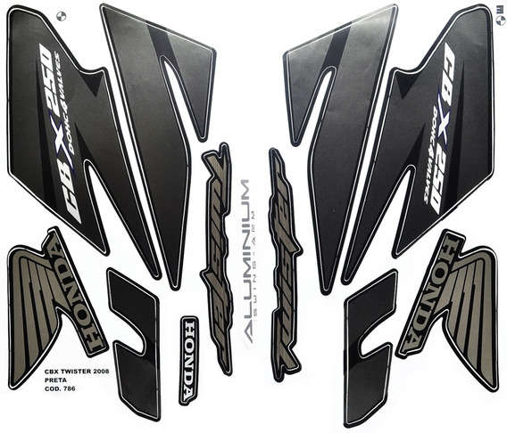 Faixas / Kit Adesivos Honda Cbx250 Twister 2008 Preta