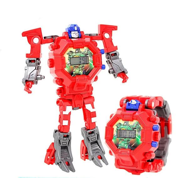 Reloj Digital Infantil Transformer Robot Zeta Niños Rojo