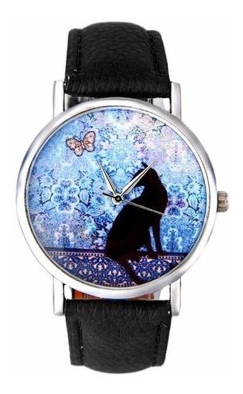 Relógio Gato Preto Borboleta Lindo Luxo Couro Preto
