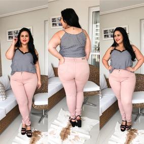 Calça Jeans Feminina Plus Size Tamanho Grande Com Lycra