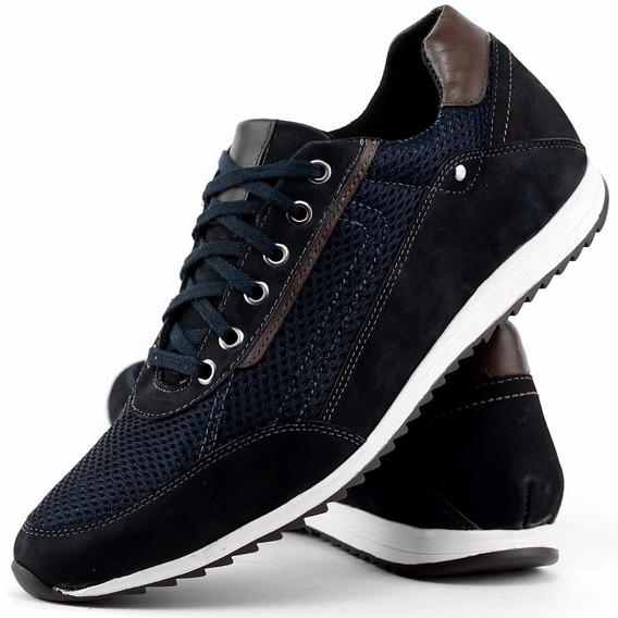 Sapato Masculino Casual Tenis Couro Legitimo Dhl Calçados