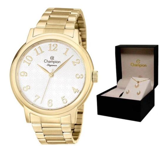 Relógio Champion Cn26368w + Kit Semijoias