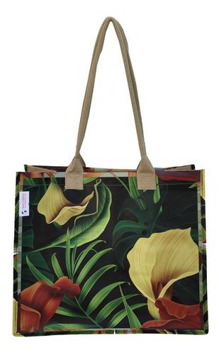 50 Bolsas Ecobag Juta Rafia - Floral
