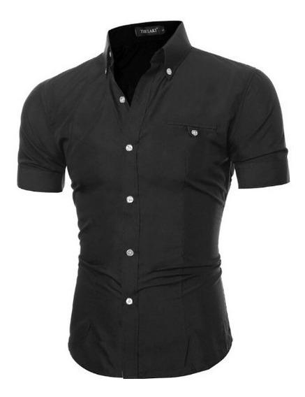 Atacado Kit 3 Camisa Social Slim Fit Manga Curta 100%algodão