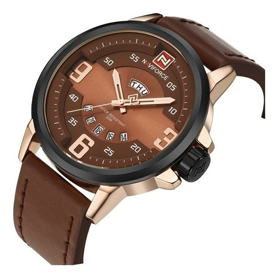 Relógio Luxo Masculino Couro Marron Naviforce A Prova D