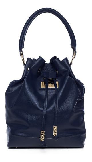 Bolsa Saco De Couro Legítimo Suzy Azul