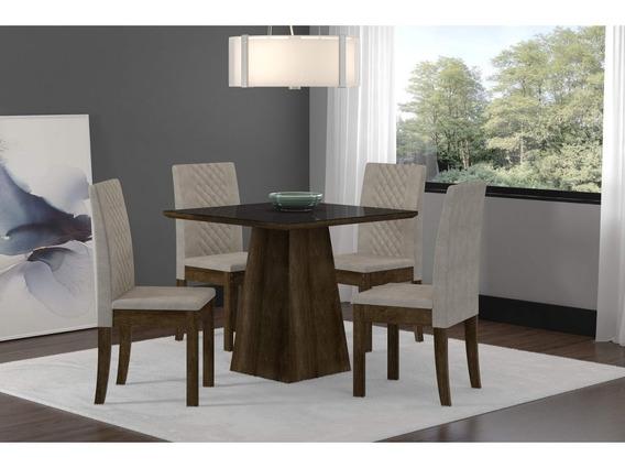 Conjunto Mesa Com 4 Cadeiras Cristal Sonetto Móveis Hi