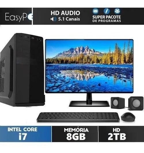 Computador Completo Easypc Intel Core I7 8gb Hd 2tb Monitor