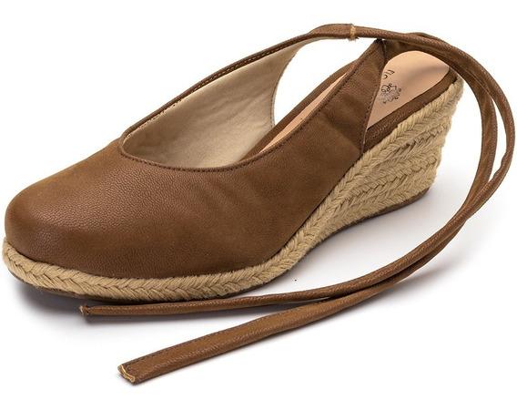 Sapato Scarpin Salto Anabela Baixo De Amarrar