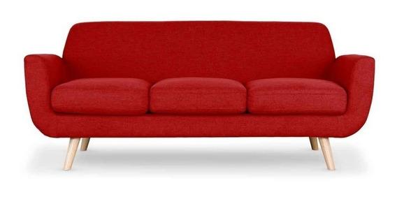 Sofá Prado 3 Personas Estilo Minimalista Color Rojo