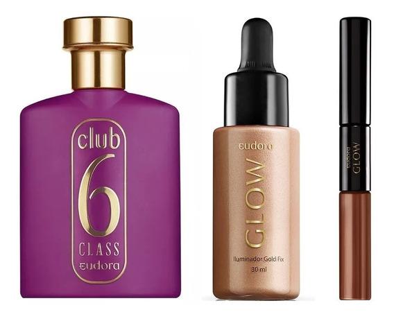 Perfume Eudora Club 6 Class + Glow Iluminador + Glow Batom