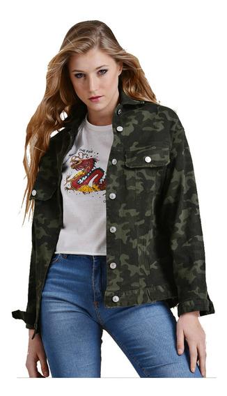 Campera Jean Camuflada Militar Mujer Oversize S Al Xl