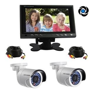 Kit Cctv Seguridad Lcd 7 Color + 2 Camaras Infrarrojas + Cable Listo Para Instalar