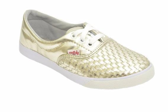 Sapato Feminino Alpargata Com Cadarço Tresset Dourada