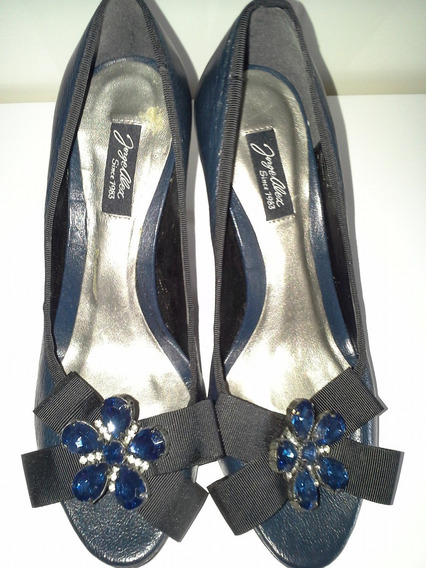 Peep Toe Em Couro Azul Com Pedraria - Jorge Alex
