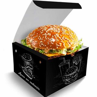 Caixa Box Embalagem Para Hambúrguer Artesanal Preto 200un