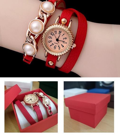 Pulseira Elegant Vemelho Com Relógio Quartz + Caixinha Mdf