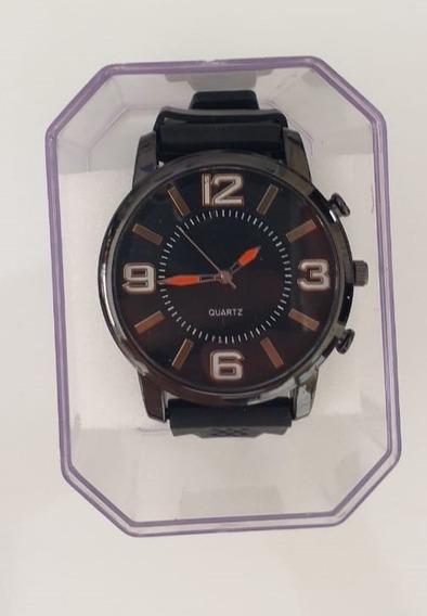 Relógio Masculino Pulseira Borracha Caixa Em Aço Inox