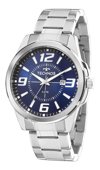 Relógio Technos Prateado Masculino 2115kzz/1a Visor Azul