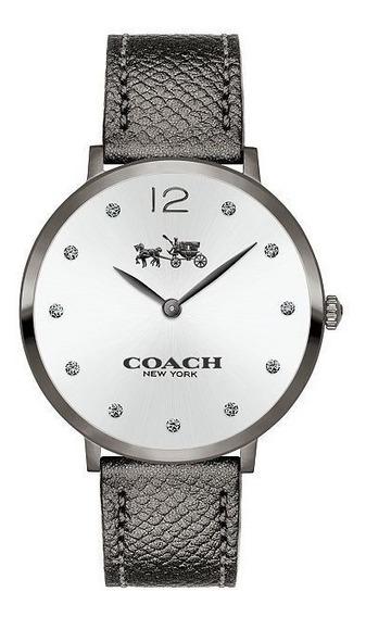 Reloj Coach Slim Easton Silver Leather Strap Watch 35mm