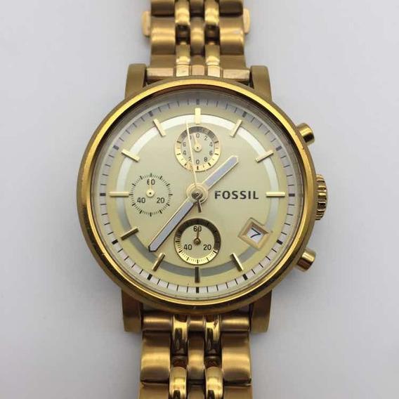 Relógio Feminino Fossil Original Dourado Excelente Estado
