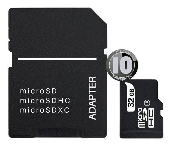 10x Cartão Memória 32gb Câmera Classe 10 Adaptador Micro Sd